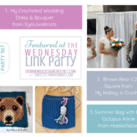 Wednesday Link Party 307 Features My Crocheted Wedding Dress Brown Bear C2C Square and Summer Bag with Little Octopus Annie