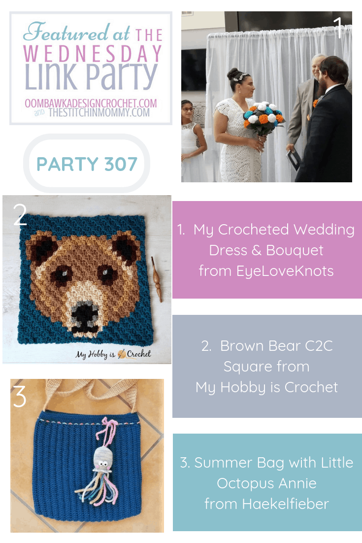 Wednesday Link Party 307 Features My Crocheted Wedding Dress, the next Wildlife Graphghan free pattern (Brown Bear C2C Square) and a Summer Bag with Little Octopus Annie project. Get the links to these projects and patterns right here! #freepattern #WednesdayLinkParty #crochet