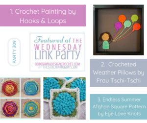 Wednesday Link Party 309 Features a DIY Crochet Painting, Crocheted Weather Pillows and the Endless Summer Afghan Square