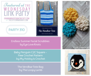 Wednesday Link Party 310 Features Pretty Facial Scrubbies, a Baby Penguin Square and a Lovely Tote Bag 2