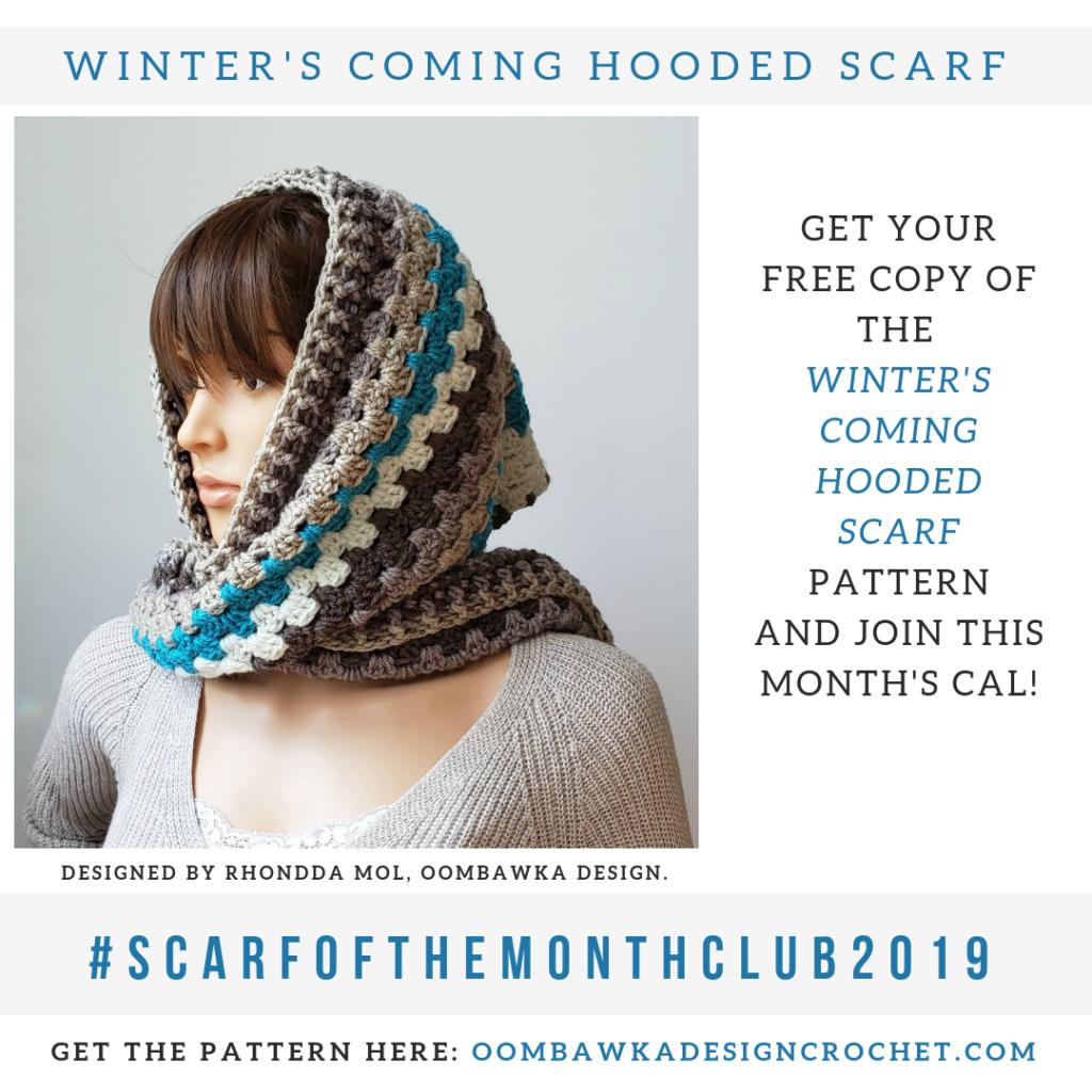 Winter's Coming Hooded Scarf Pattern by Rhondda Mol Oombawka Design Crochet