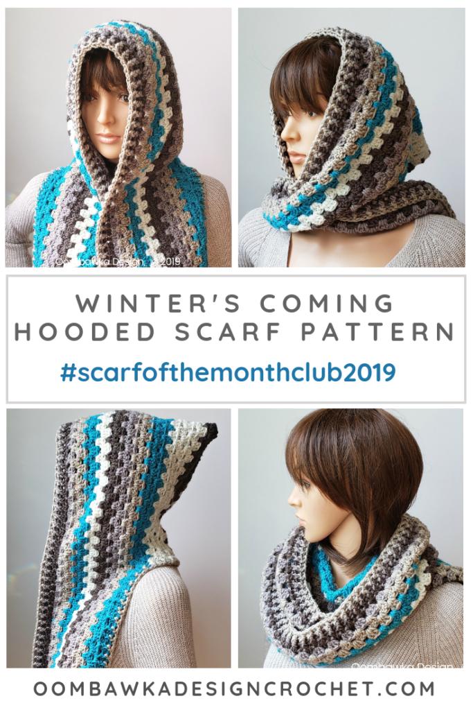 Winter's Coming Hooded Scarf Pattern by Rhondda Mol Oombawka Design Crochet PIN