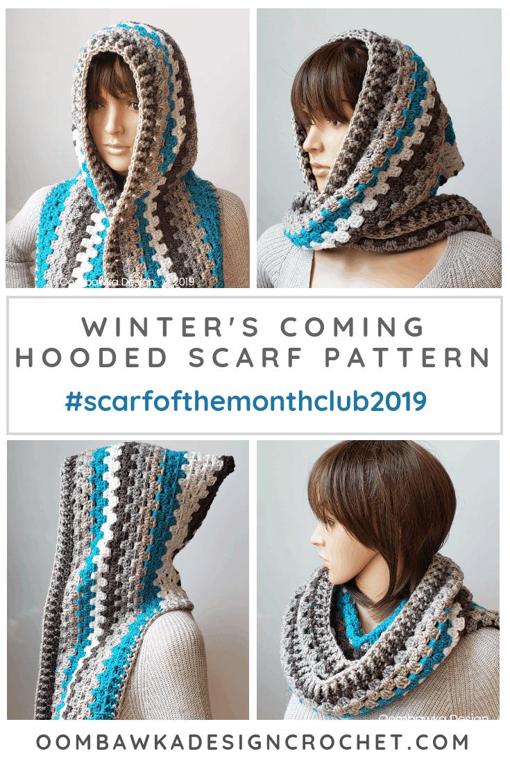 Winter\'s Coming Hooded Scarf Pattern Free Crochet Pattern by Oombawka Design Crochet #scarfofthemonthclub2019 #freepattern #crochet #caroncakes