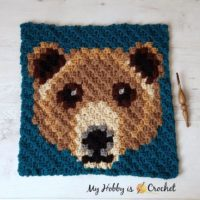 Featured at Wednesday Link Party 307: Brown Bear C2C Square - Free Crochet Pattern + Graph | Wildlife Graphghan CAL Block 12