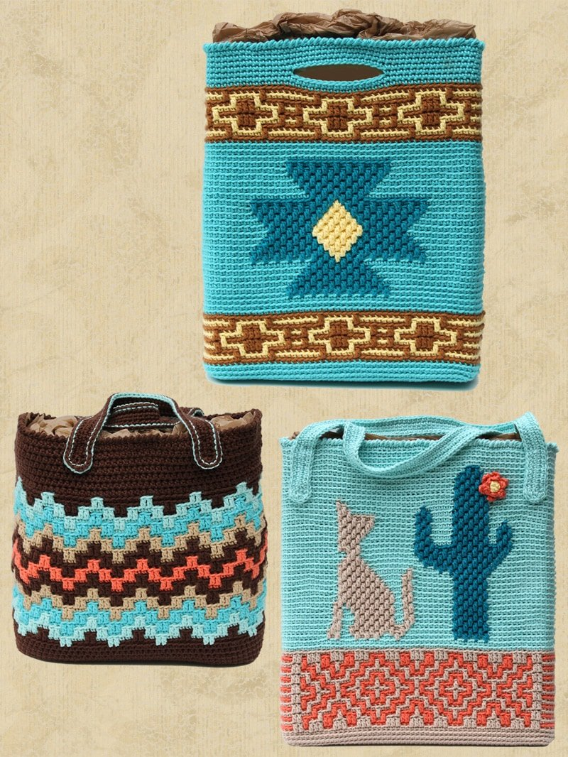 3 Native American Totes Patterns by Shady Lane Original Crochet Designs. Book review and giveaway! #nativeamerican #crochetpatterns #crochettotes