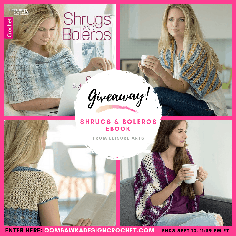 Giveaway Shrugs and Boleros eBook from Leisure Arts ends Sept 10 2019 at 1159 pm ET