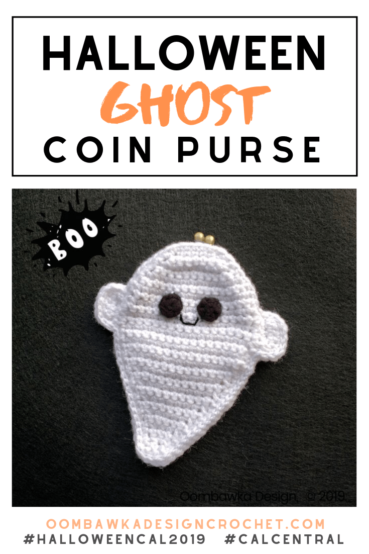 Today I am sharing my free Halloween Ghost Coin Purse Pattern. This pattern also makes an adorable ragdoll ghost! #HalloweenCAL2019 #CALCentral #yarnspirations #ragdoll #ghost #freepattern