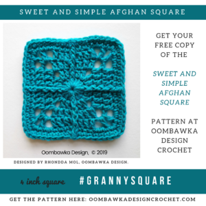 Sweet and Simple Afghan Square Pattern by Rhondda Mol at Oombawka Design Crochet