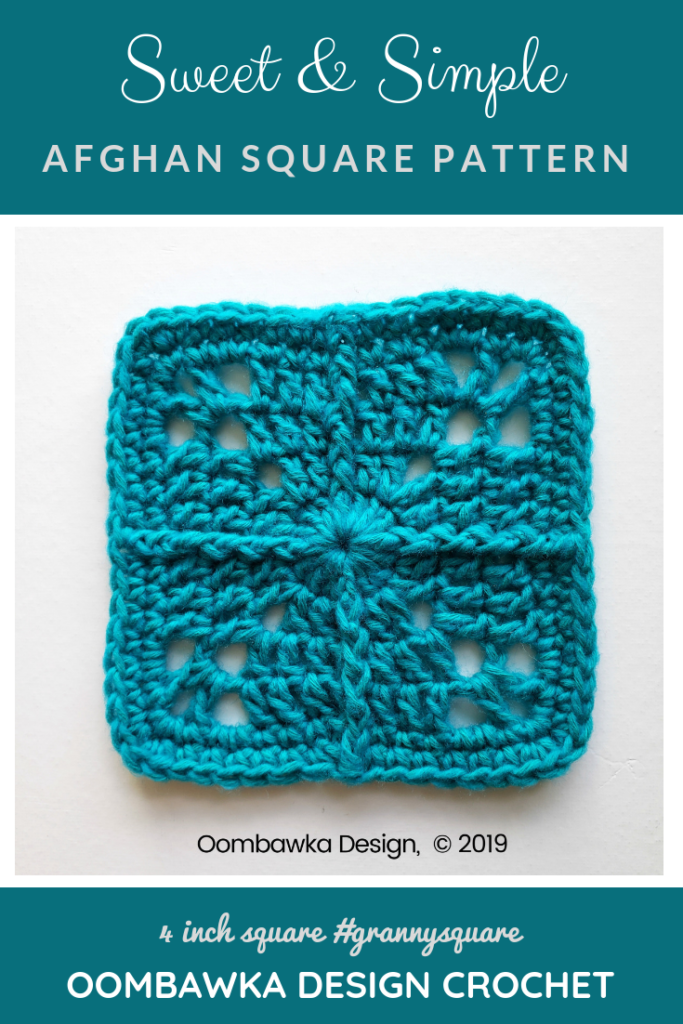Sweet and Simple Afghan Square Pattern by Rhondda Mol at Oombawka Design Crochet PIN This