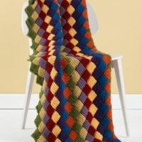 Tunisian Crochet Entrelac Throw Pattern by Lion Brand Yarn