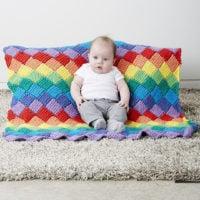 Tunisian Entrelac Baby Blanket by Bernat Design Studio