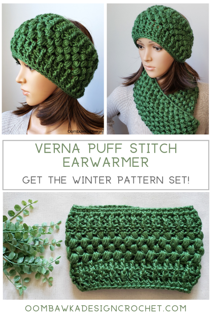 Verna Puff Stitch Earwarmer Pattern Set Oombawka Design Crochet