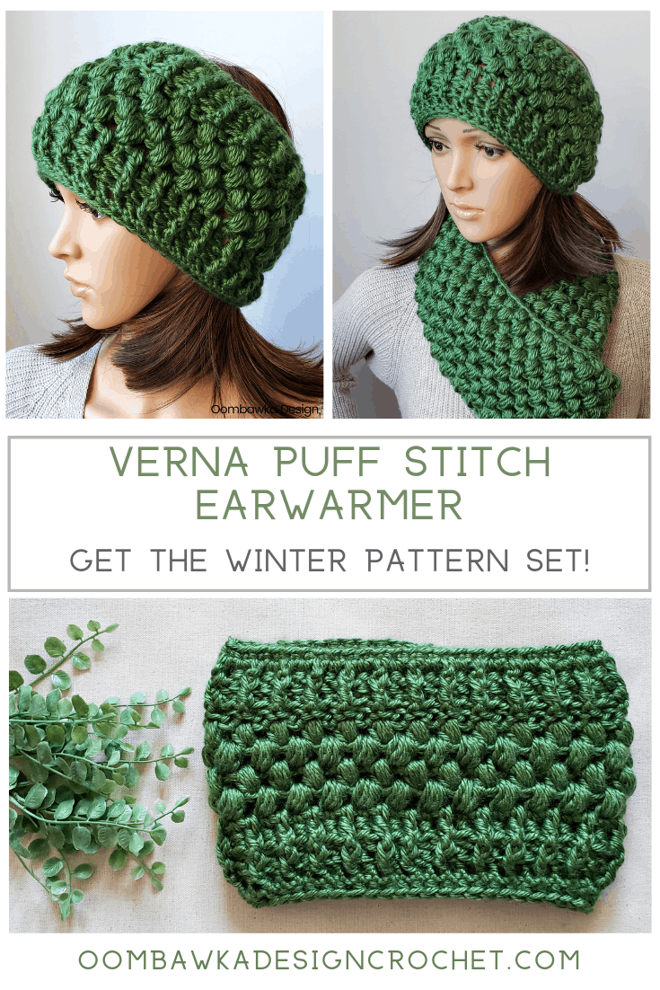 The Verna Puff Stitch Ear Warmer Pattern is textured and warm. Get the matching scarf pattern too! #freepattern #crochet #yarnspirations #redheartyarns #joycreators