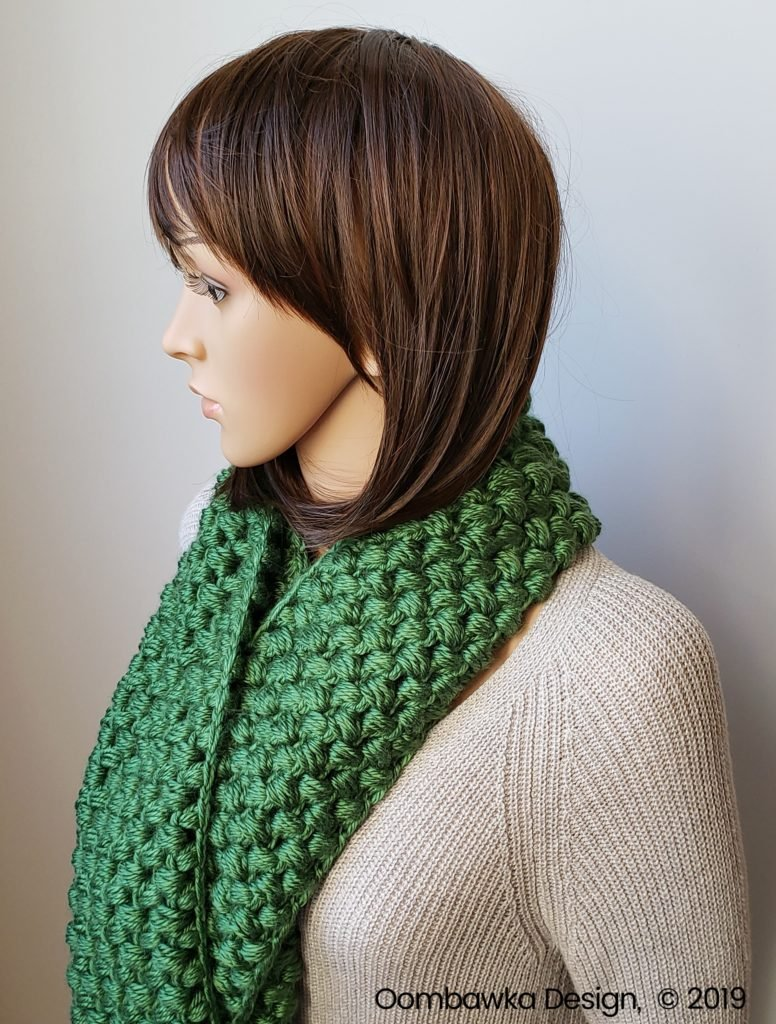 Verna Puff Stitch Infinity Scarf Pattern by Oombawka Design 1