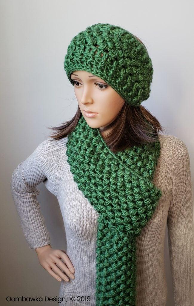 Verna Puff Stitch Infinity Scarf and Puff Stitch Earwarmer Pattern Set Oombawka Design Crochet 2