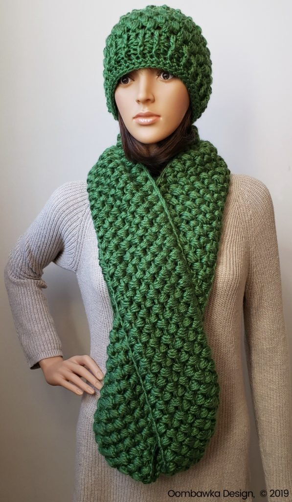 Verna Puff Stitch Infinity Scarf and Puff Stitch Earwarmer Pattern Set Oombawka Design Crochet