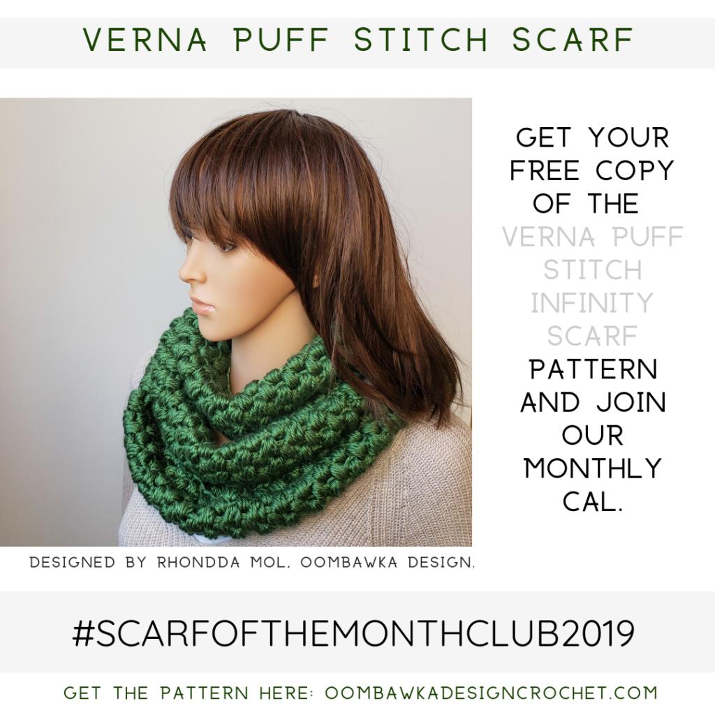 Verna Puff Stitch Infinity Scarf Pattern ScarfoftheMonthClub2019 September