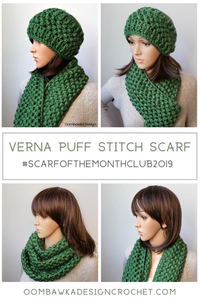 Verna Puff Stitch Infinity Scarf Pattern ScarfoftheMonthClub2019 September 2
