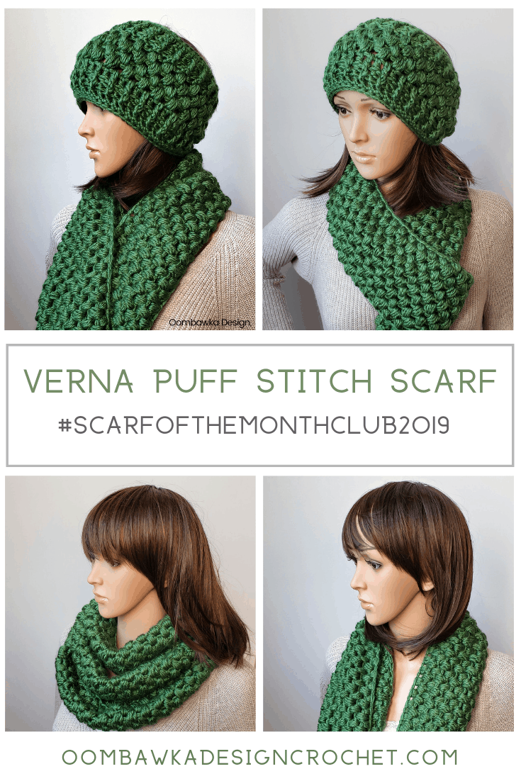 The finished infinity scarf is super soft and cozy, it is the perfect scarf to snuggle into to escape from the cold winter air. This scarf is part of a crochet set; there is a matching Verna Puff Stitch Ear Warmer pattern too. #freepattern #redheartyarns #joycreators #yarnspirations #scarfofthemonthclub2019