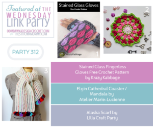 Wednesday Link Party 312 Features Stained Glass Fingerless Gloves Elgin Cathedral Coaster Mandala and Alaska Scarf odc