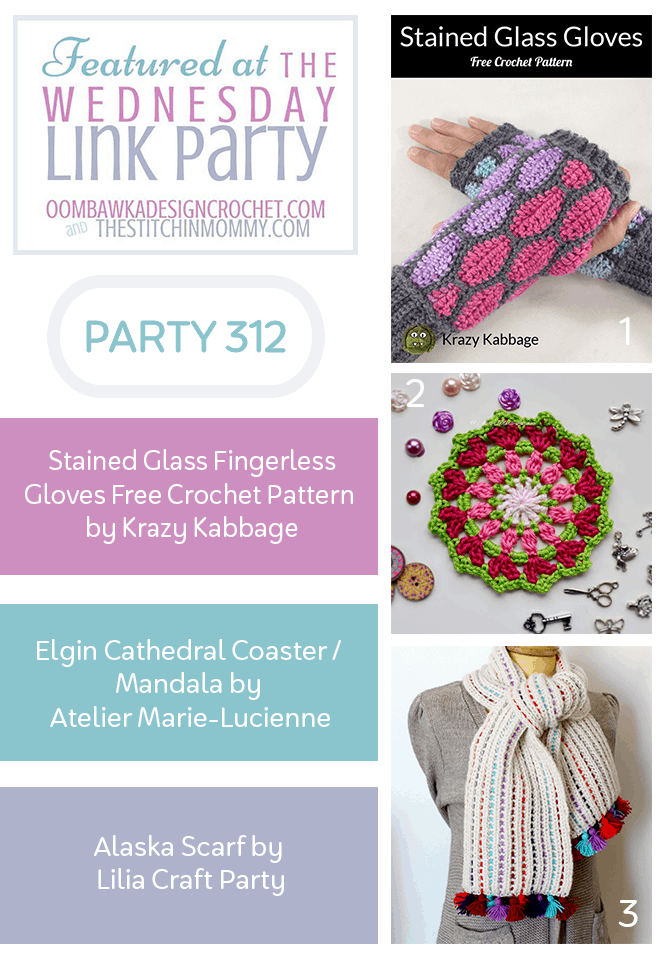 Wednesday Link Party 312 Features Stained Glass Fingerless Gloves Elgin Cathedral Coaster Mandala and Alaska Scarf