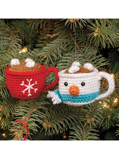 Christmas Mug Ornaments from Annie's Christmas Special 2019 - Review at Oombawka Design Crochet