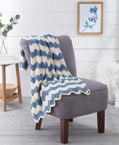 Embossed Ripple Pattern. Crochet Afghan Revival Cover