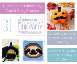 Featured at Wednesday Link Party 317 Jacques-o-Lantern, Cork Witch Gnome and Sloth Square All Free Crochet Patterns FB