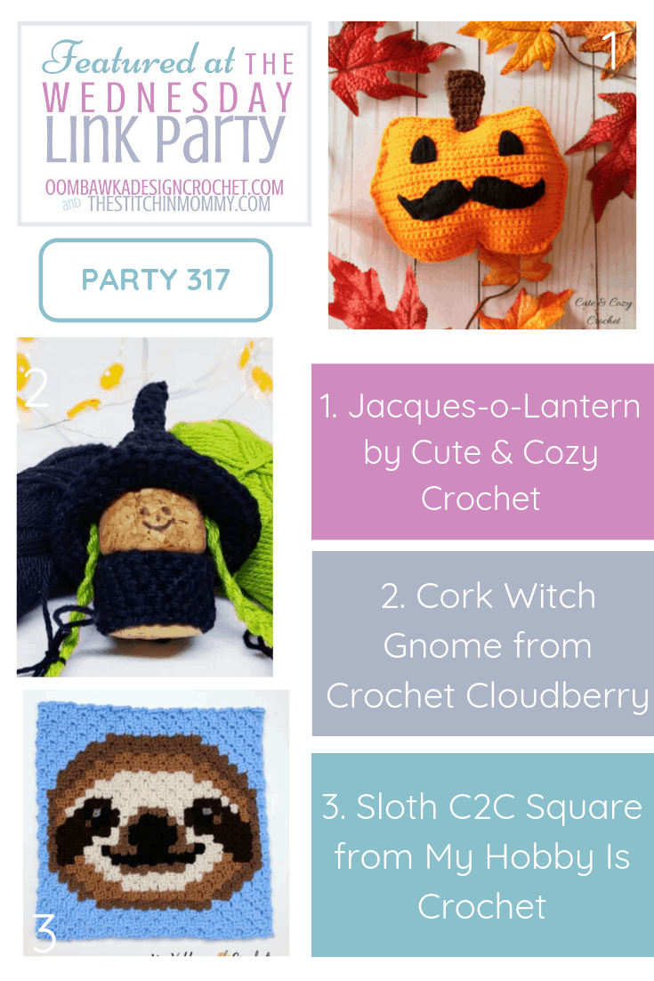 Featured at Wednesday Link Party 317 Jacques-o-Lantern, Cork Witch Gnome and Sloth Square All Free Crochet Patterns