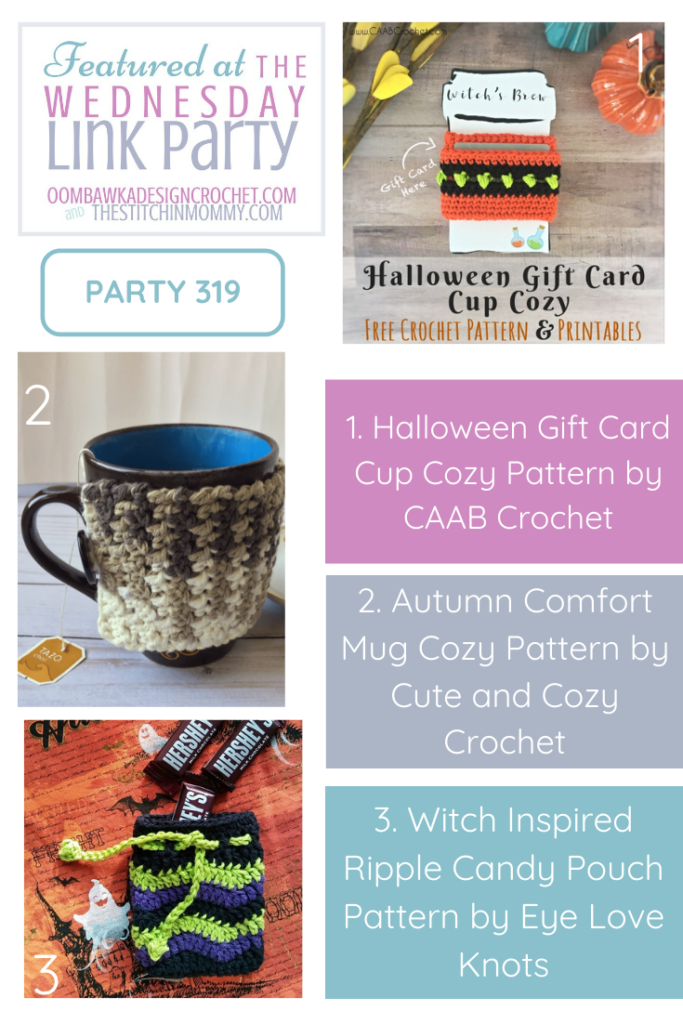 Featured at Wednesday Link Party 319 Halloween Gift Card Cup Cozy