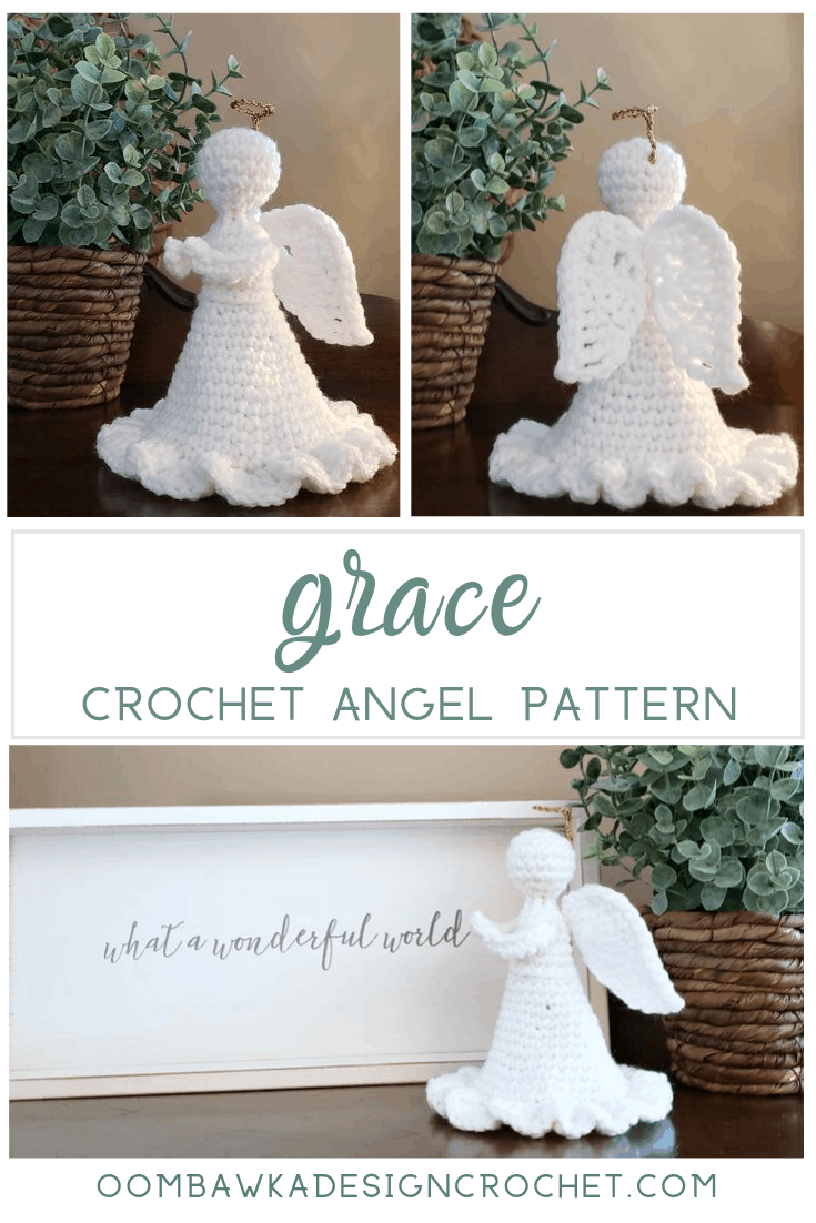 Grace Angel Crochet Pattern by Oombawka Design Crochet, 2019 #12WeeksChristmasCAL #joycreators #redheartyarns #yarnspirations This graceful crochet Angel can stand tall without any stiffening agents being applied. All you need is 31 g (57 yards) of Medium Weight Yarn [4] (I used Red Heart Super Saver), a small amount of Poly-Fil and a 4 mm (G) hook to crochet Grace. Her Halo is constructed with Bowdabra Bow Wire and a 2.25 mm hook. An easy and quick project. Perfect for gift giving!