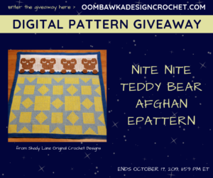 Nite Nite Teddy Bear Afghan eBook Giveaway OombawkaDesignCrochet FB