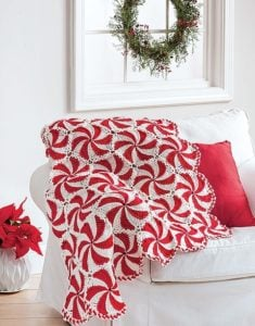 Peppermint Pinwheels Pattern. Crochet Afghan Revival Cover