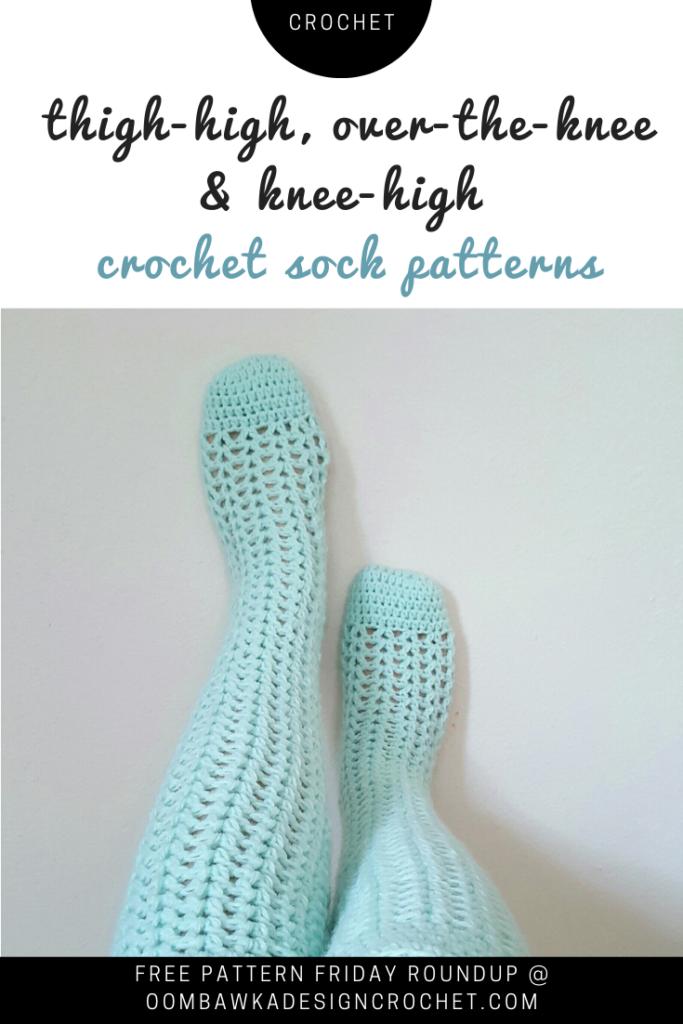 Over the Knee Crochet Sock Patterns Free Roundup at Oombawka Design Crochet