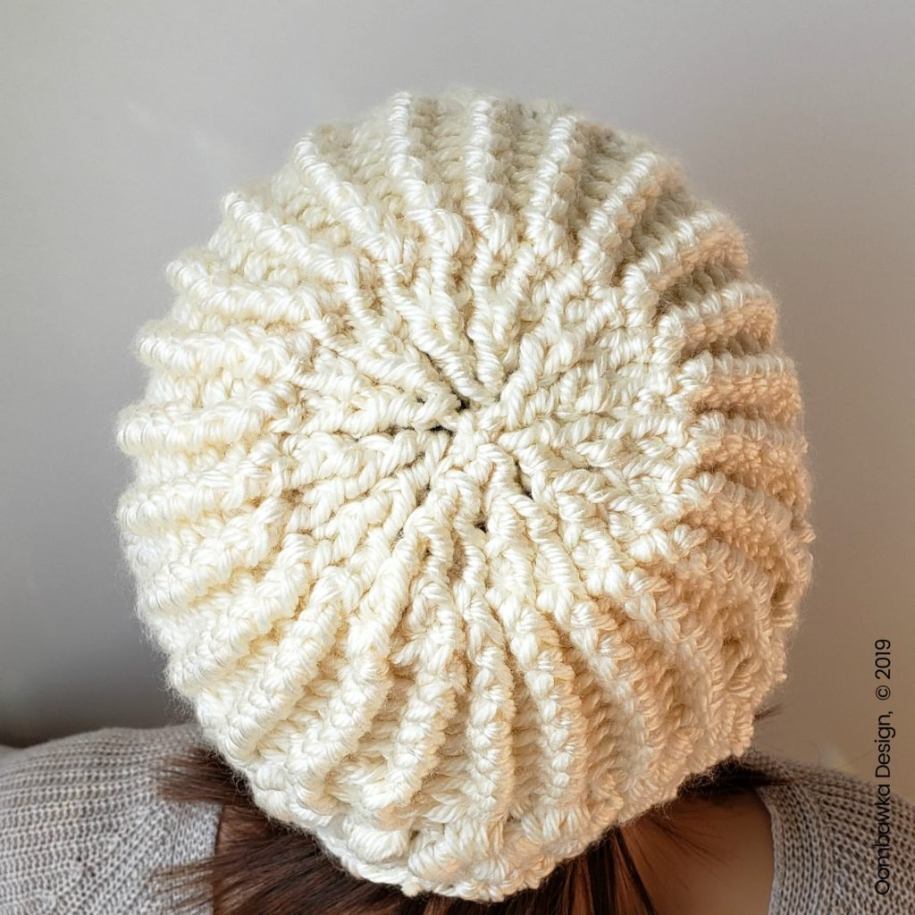 Verna Puff Stitch Hat Pattern by Rhondda Mol Oombawka Design Crochet top of hat
