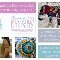 Wednesday Link Party 315 Featured Favorites Include Applique Elephants, Satawal Tee and Large Christmas Bauble. Share this image to Facebook.