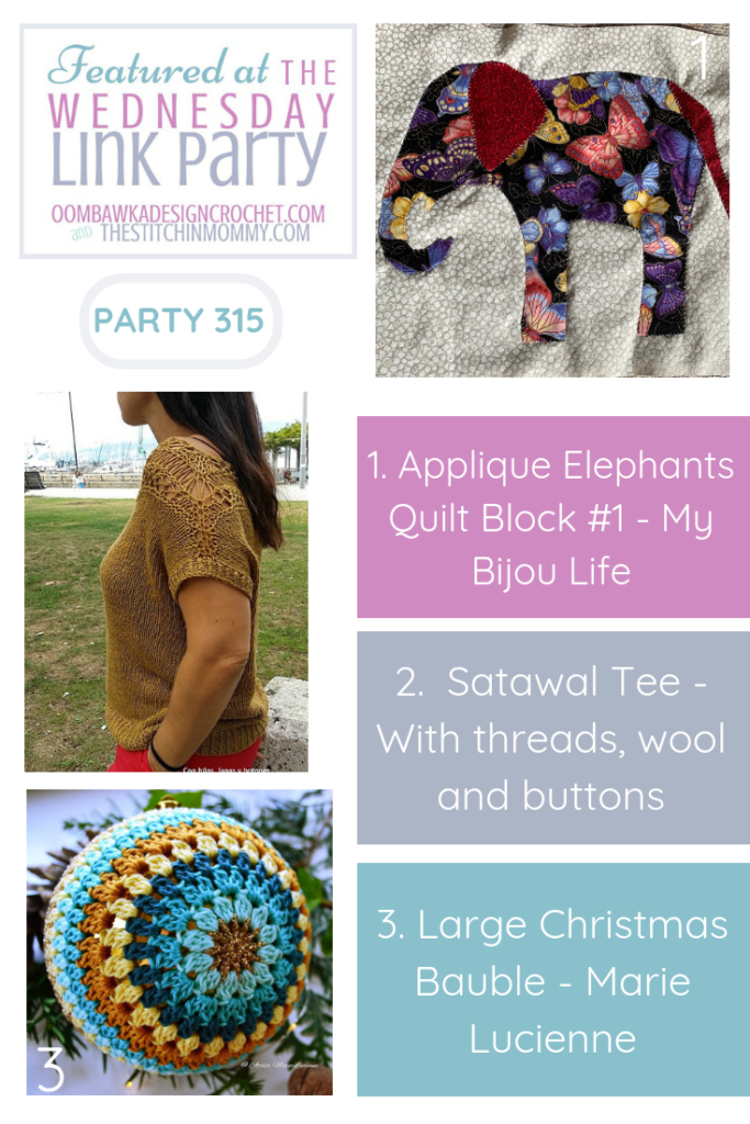 Wednesday Link Party 315 Featured Favorites Include Applique Elephants, Satawal Tee and Large Christmas Bauble. Share this image to Pinterest.