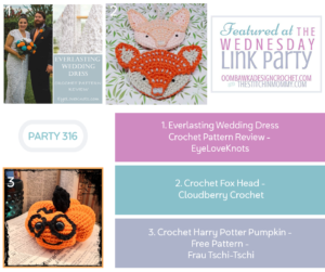 Wednesday Link Party 316 Featured Favorites Everlasting Wedding Dress Crochet Pattern Crochet Fox Head and Harry Potter Pumpkin. FB this please