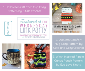 Wednesday Link Party 319 Features Halloween Gift Card Cup Cozy