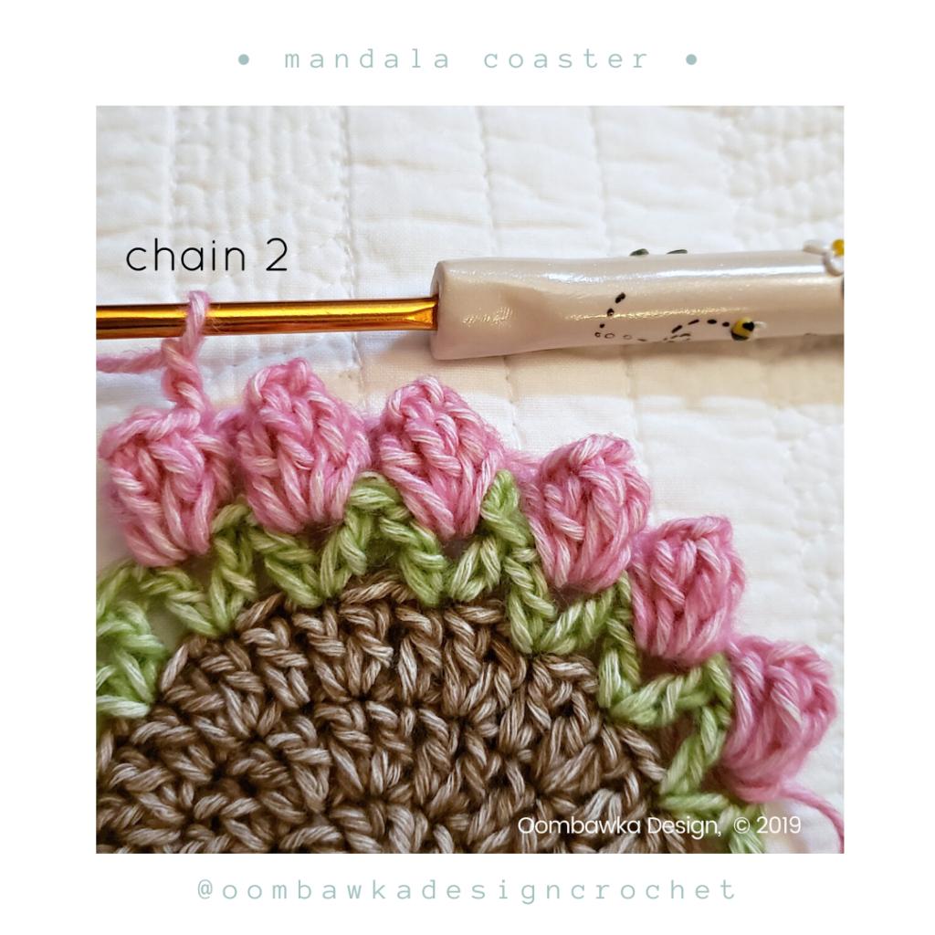 Popcorn 3 Free Mandala Crochet Coaster Pattern from Oombawka Design