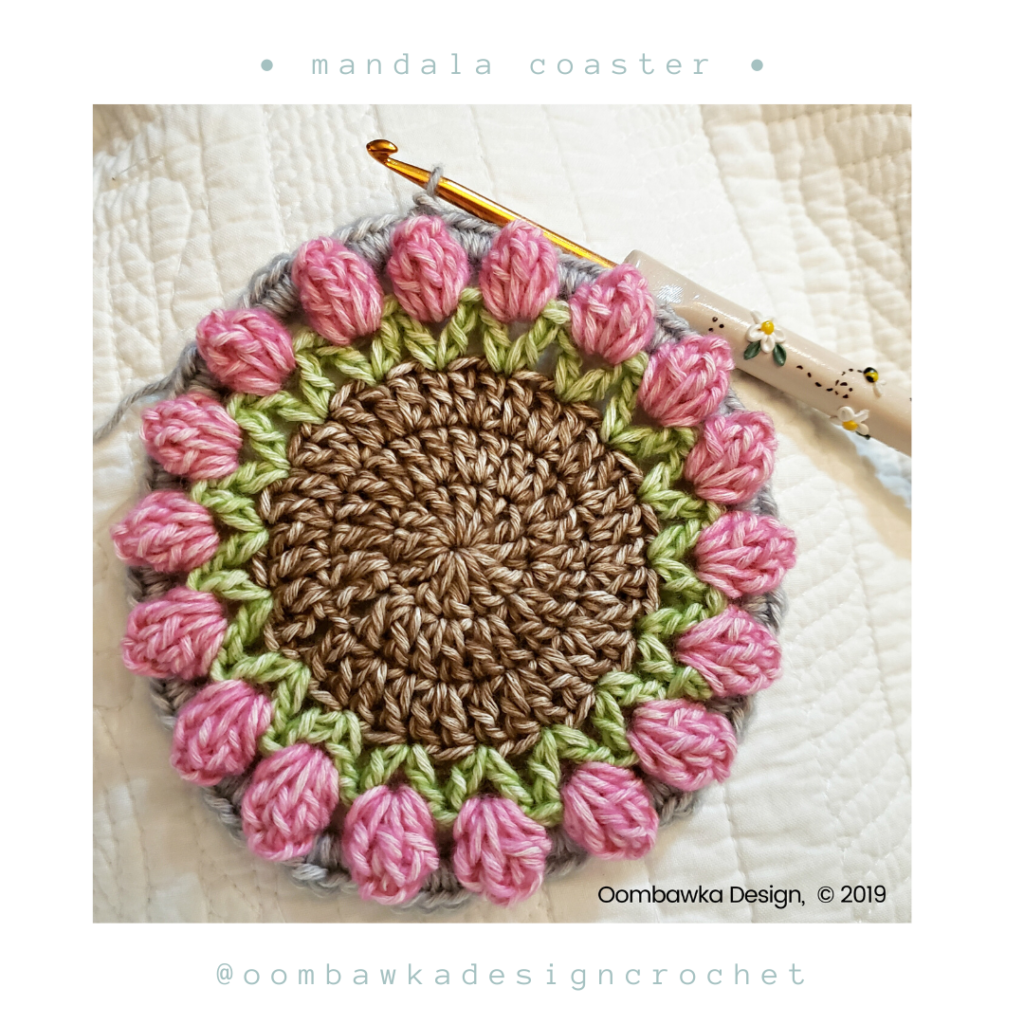 Round 6 Free Mandala Crochet Coaster Pattern from Oombawka Design
