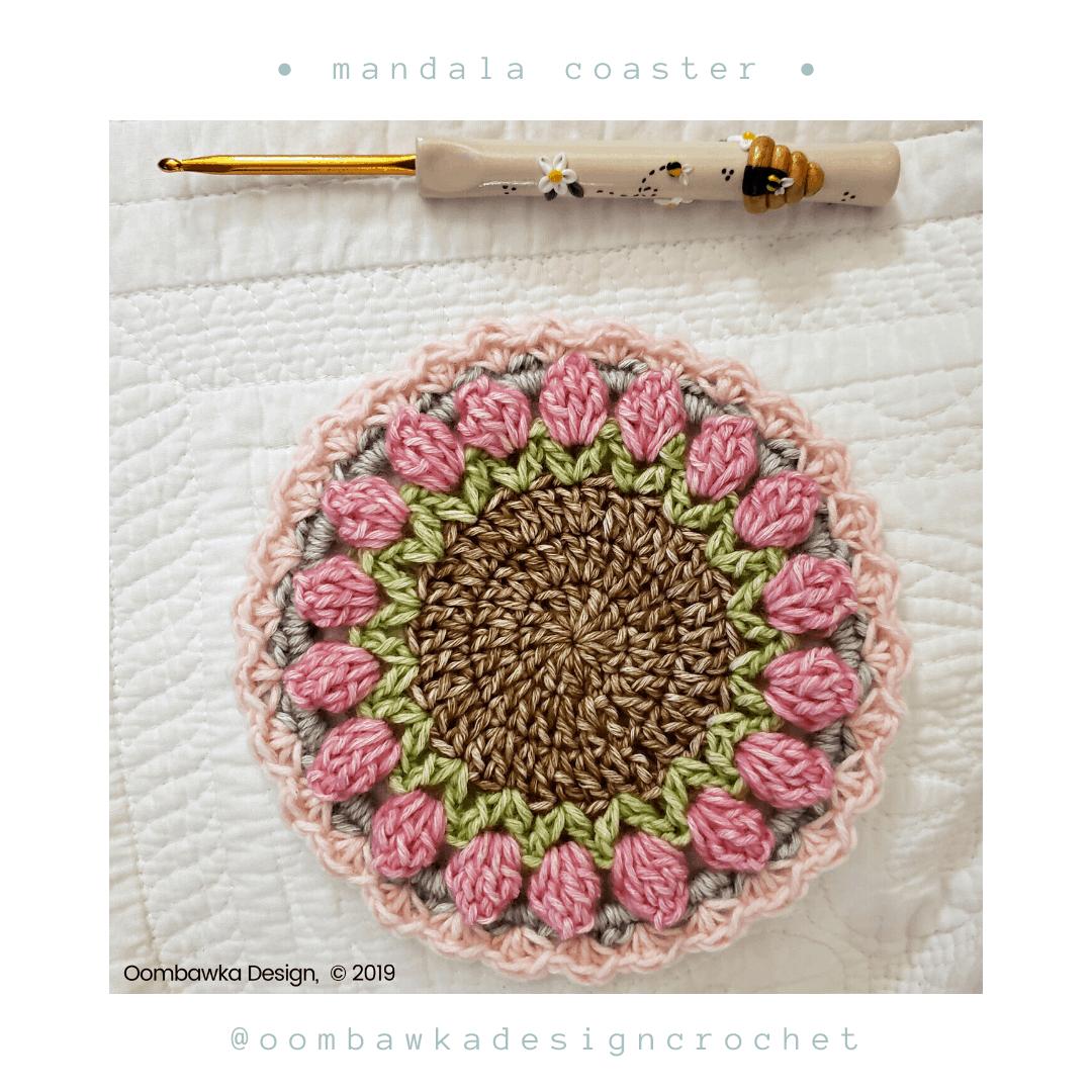 R 7 Free Mandala Crochet Coaster Pattern from Oombawka Design