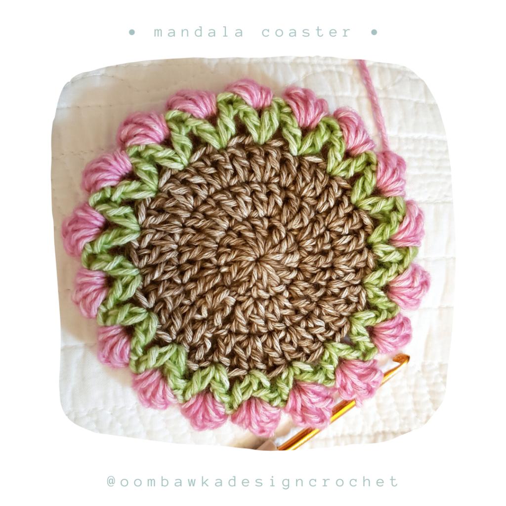 R5 Free Mandala Crochet Coaster Pattern from Oombawka Design