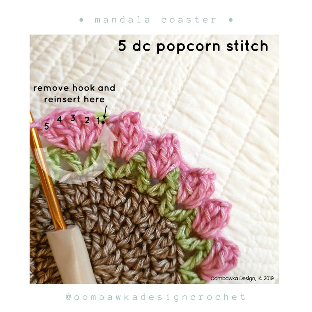 Popcorn Free Mandala Crochet Coaster Pattern from Oombawka Design
