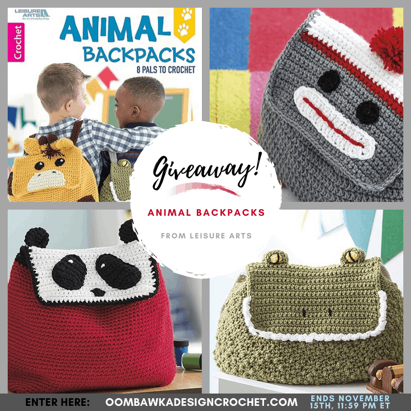 Animal Backpacks Giveaway at Oombawka Design Crochet ends November 15 1159 pm ET
