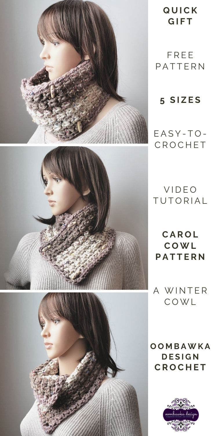 Carol Cowl. The Winter Cowl Crochet Pattern with Video Tutorial. #yarnspirations #caroncakes #crochet #freepattern