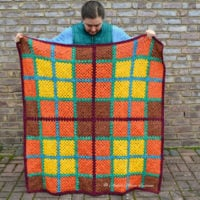 Featured at Wednesday Link Party 323 Granny Square Tartan Blanket