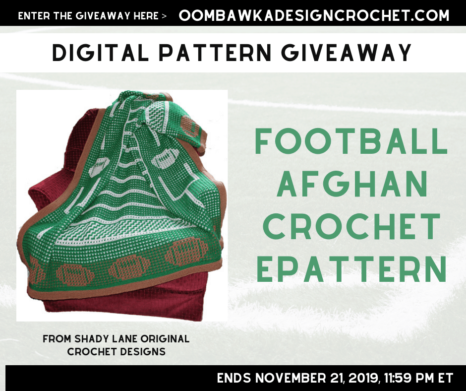 Football Afghan Crochet ePattern Giveaway at Oombawka Design Crochet ends November 21 2019 1159 pm ET