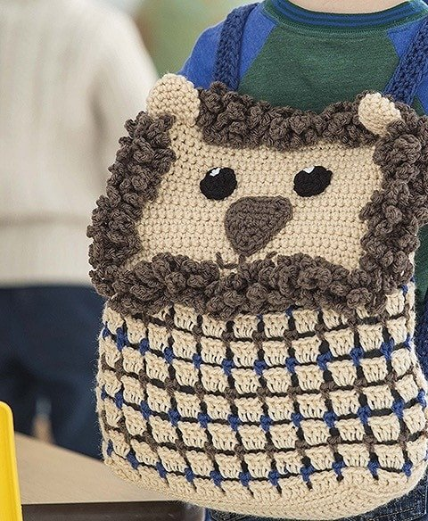 LION Animal Backpacks from Leisure Arts Book Review by Oombawka Design Crochet