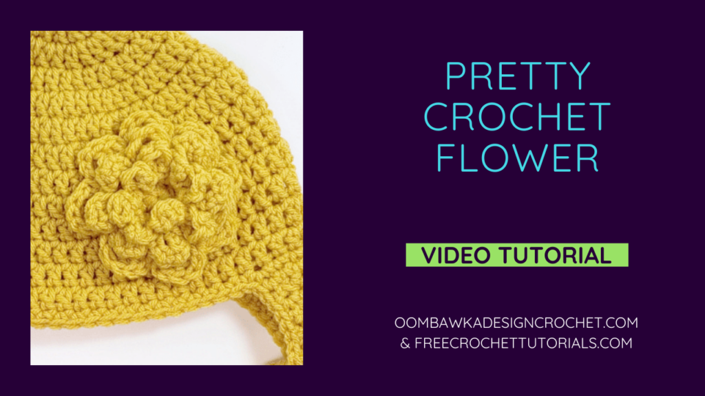 Pretty Crochet Flower Video Tutorial Image for YOUTUBE